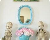 Upcycled Vintage Mini Filigree Vanity Mirror Aqua