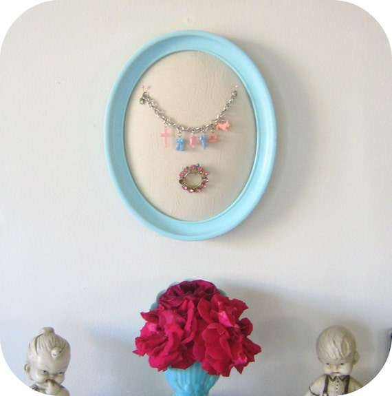 Jewelry display holder repurposed aqua frame for Repurposed jewelry holder