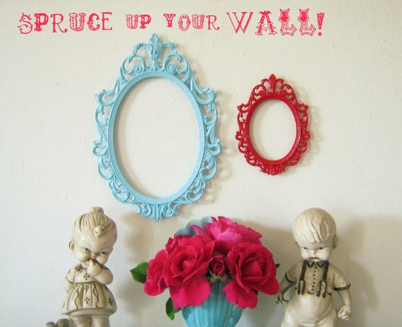 Two Upcycled Vintage Italian Filigree Frames Oval Aqua Red