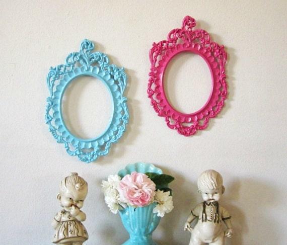 Vintage Italian Baroque Frames Upcycled AQUA MAGENTA Convex Glass