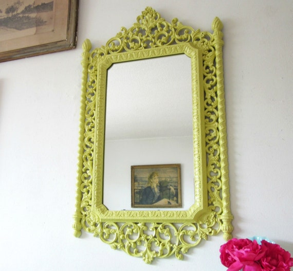 Upcycled Vintage Ornate Wall Mirror Lemon Grass YELLOW 19 x 33
