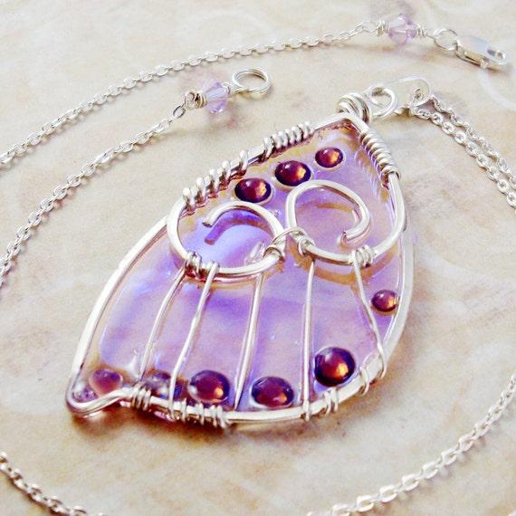 Sidhe Wings Pendant - Leanan Sidhe - Iridescent Fairy Wing Faery Wing Jewelry