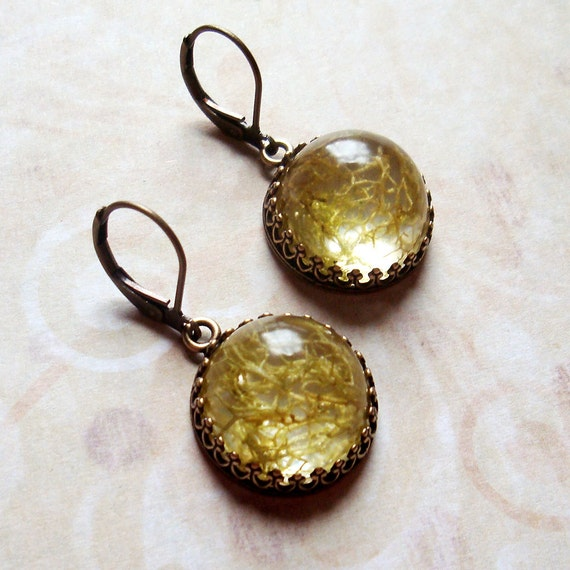 Woodland Moss - The Natural World Earrings in Antiqued Brass