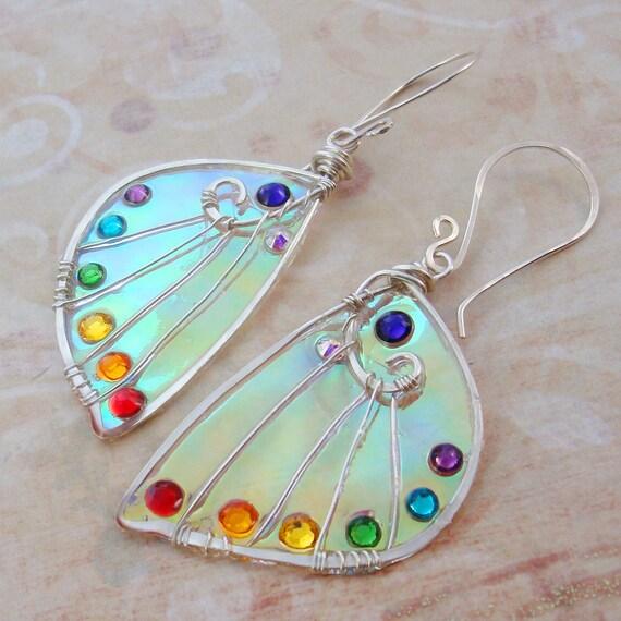 Sidhe Wings Earrings - Rainbow Wing - Iridescent Faery Wing Earrings - Fairy Wings - Fairie Wings