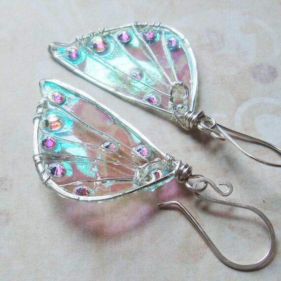 Sidhe Wings Earrings - Daoine Sith in Silver- Iridescent Faery Wing Earrings - Fairy Wings - Fairie Wings