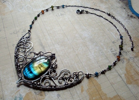 RESERVED - Oditi - Ornate Blue and Amber Labradorite Collarpiece - Inspired by India