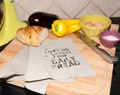 Daily Bread Linen Tea Towel Flax or White - weatherandnoise