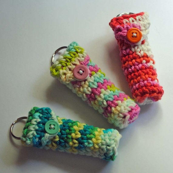 Set of 3 Lip Balm Holder Keyrings - Summer Brights Collection