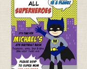 Batman - Digital Birthday Party Invitation - Printable Birthday party invite