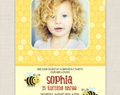 BEE our guest - BEE Photo Birthday Invitation, Baby Shower or Birth Announcement - Printable Personalized Digital Photo Card