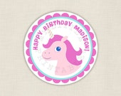 Pink Unicorn - Personalized 2in party circles - Cupcake Topper - DIY printable digital file