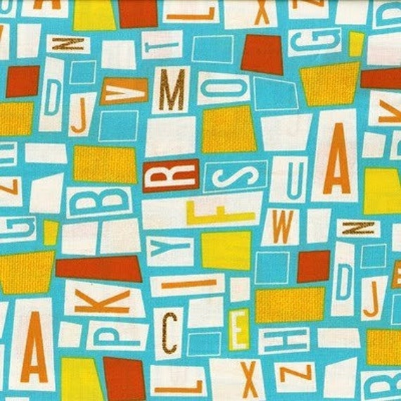 Last Yard -Sale- Letter fabric from the Aldo to Zippy collection - Blue