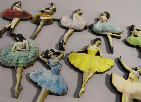 Vintage Ballerinas - Collection of 10 Wooden Laser Cut Pieces