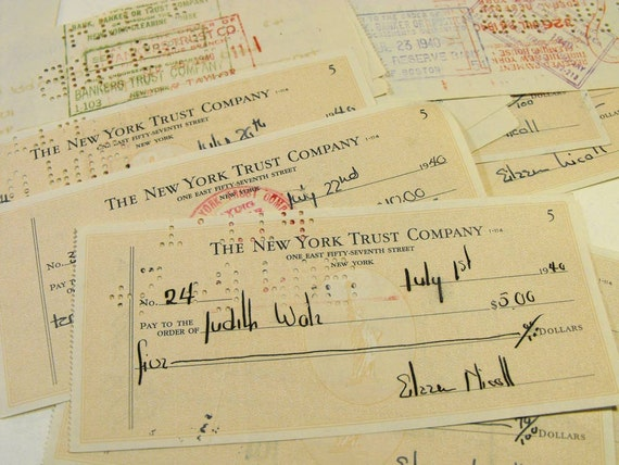Collection of 20 Vintage Checks 1940s