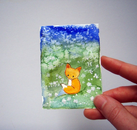 Fox Fields 2 - An Original ACEO Watercolor Painting