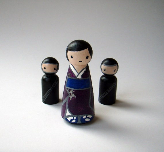 Sayoko and Little Ninjas - An Original Kokeshi Wooden Art Doll Set