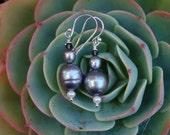 Bridesmaid -Vintage Grey Pearl earrings -  Greystone