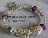 TUTORIAL  Wire wrapped coil bangle bracelet with Lampwork beads Step-by-Step instructions