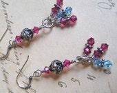 Fuschia and aqua Swarovski crystal Bali sterling cluster dangle earrings