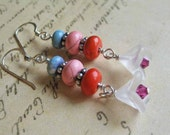 Colorful hippie boho stacked bead earrings with czech bell flower bead dangle