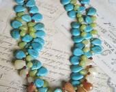 Southwest necklace turquoise double strand Statement necklace, onyx , jade, aventurine and turquoise
