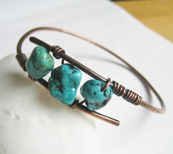 copper bangle turquoise bracelet handforged antiqued copper