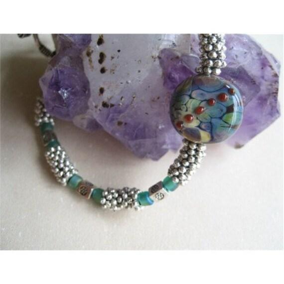 SALE SAVE 6 DOLLARS Lampwork raku focal on daisy chain bracelet colgan