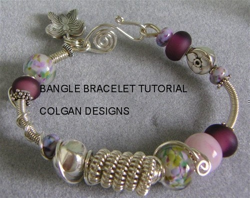 tutorial wire wrapped coil bangle bracelet with lampwork