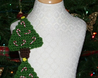 Crochet Scarf Pattern, Christmas Tree