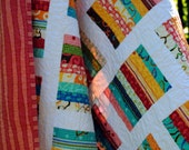 Lap QUILT or Twin Coverlet, fun and happy ......pattern also for sale