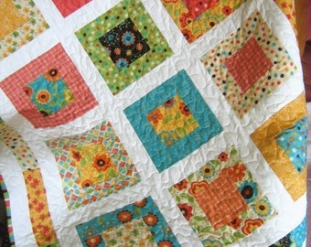 Lap or Baby Quilt Pattern....Quick and Easy LAYER Cake or Fat Quarters, San Francisco Window Boxes