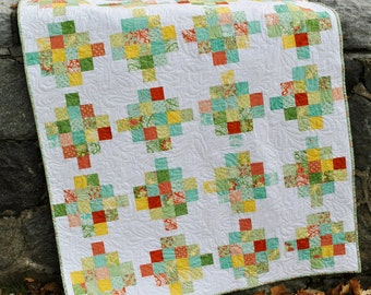 Quilt PATTERN five sizes from baby to king.... Jelly Roll or Fat Quarters, Mixed Bouquet