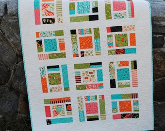 Baby Quilt PATTERN or Lap Quilt.... Layer Cake, Fat Quarters, or scraps ...Sassy Frass