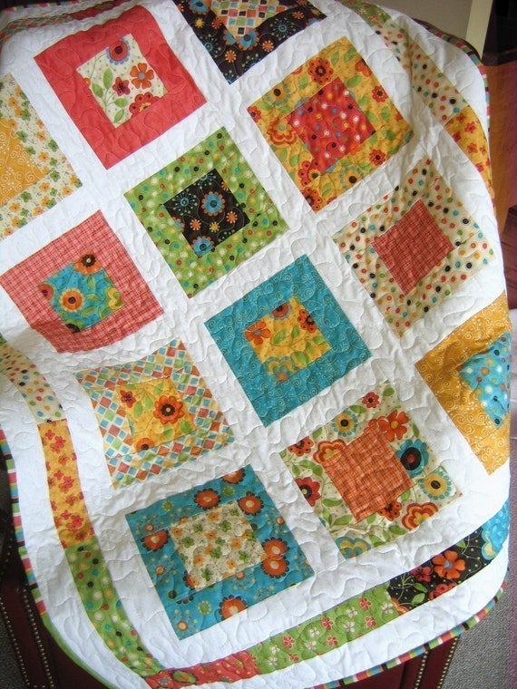 San Francisco Window Boxes Lap or Baby Quilt Pattern....Quick and Easy LAYER CAKE or FAT QUARTERS