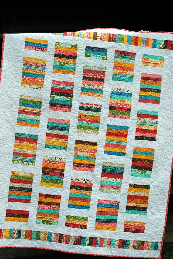 Baby Quilt Pattern or Lap Quilt Pattern....Quick and Easy ...Layer Cake or Fat Quarters - Simply Stripy