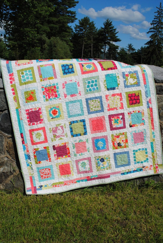 PDF QUILT PATTERN.... Easy...one layer cake, Around the Block