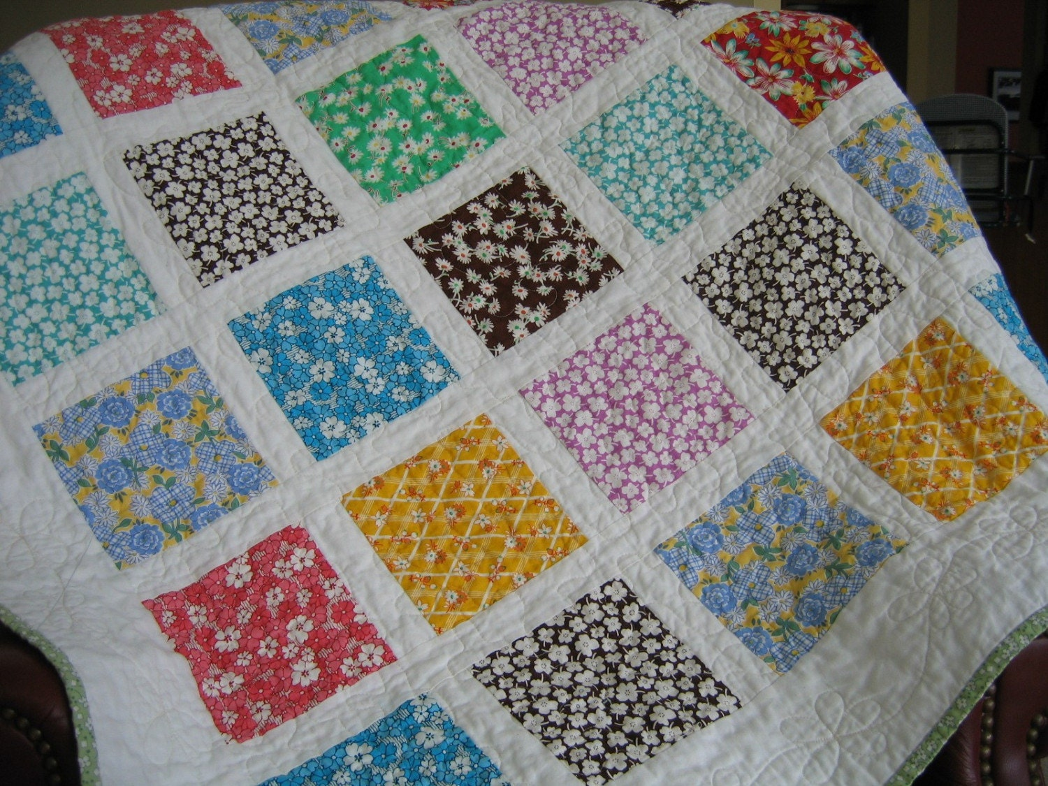 Reproduction Feedsack 1930 S Lap Quilt Or Baby Or Toddler
