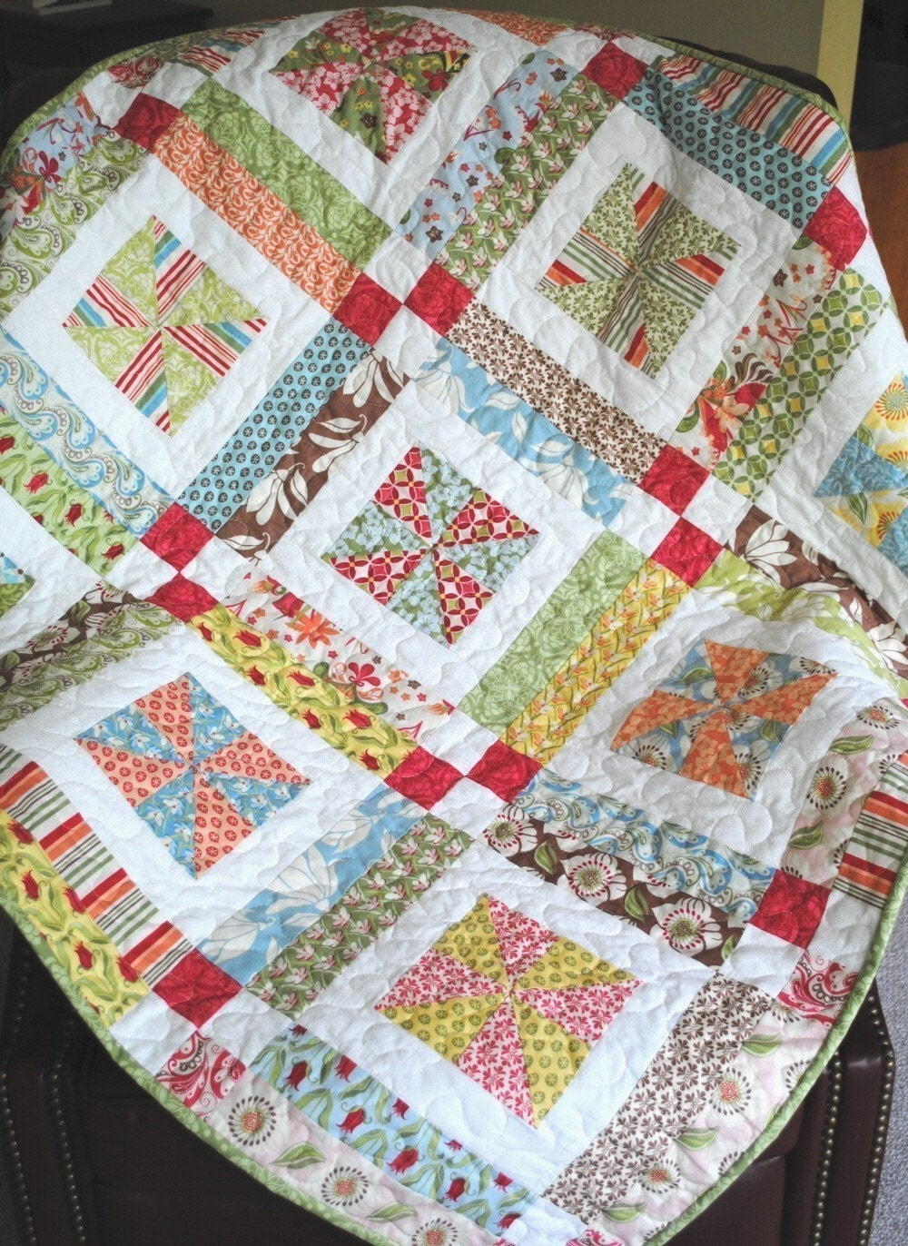 Lemonade Lollipop Baby Quilt Pattern Easy One Layer