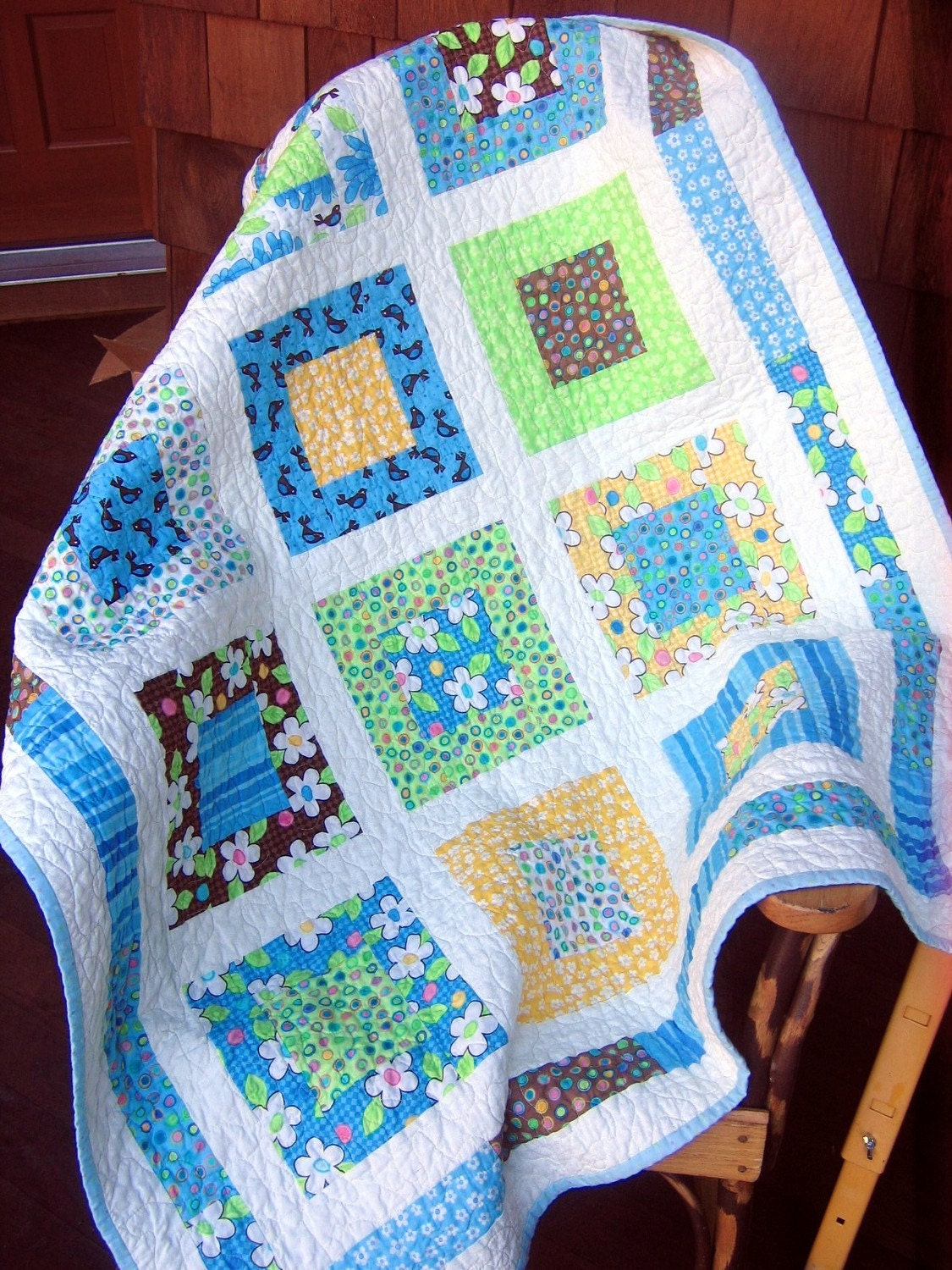 Free baby bed quilt patterns - On Sale Moda Birdie Baby Boy Or Toddler Crib Quilt By Sweetjane