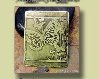 New - Handmade etched Butterflies Charm, PurpleLily Designs