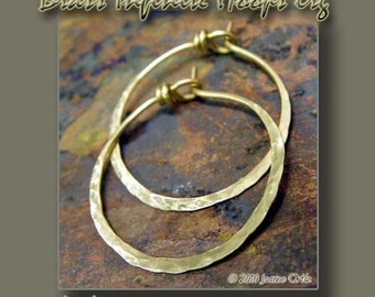 Brass Infinite Hoops, 18g, Lrg., Handforged by PurpleLily Designs