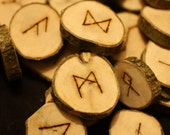 Beautiful English Holly Wood Runes - Elder Futhark - with bag & Information sheet - Pagan, Wicca, Witchcraft, Divination