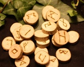 English Ash Wood Elder Futhark Runes - With Bag & Information Sheet - Pyrographed - Pagan, Wicca, Witchcraft, Norse