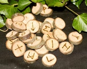 British Hawthorn Wood Elder Futhark Runes with Bag and Information For Divination, Pagans, Wicca, Witchcraft