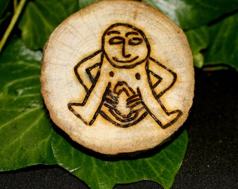 Sheela Na Gig  English Oak Amulet  or Altar Piece- Dark Goddess, Hag, Crone Goddess - Pagan, Wicca, Witchcraft