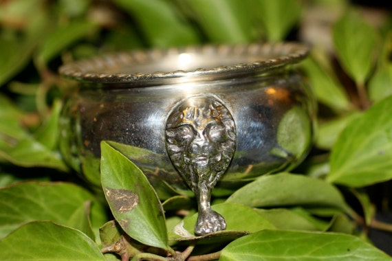 Vintage silver plated Lion's Head Cauldron