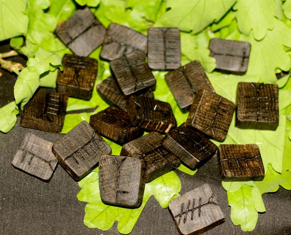Irish Bog Oak Celtic Ogham tablets with book and pouch
