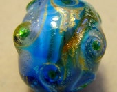Blue and Silver Textured Swirls Lampwork roundSRA