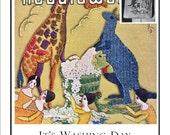 Vintage Embroidery Giraffe & Kangaroo Design pdf Pattern It's Washing Day 1933 E108