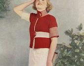 Coat Jacket Art Deco Vintage Knitting Pattern  from 1930's Pdf Instant Download